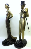 Sophisticates Sculpture Pair by Russian Artist Michel Katok for Austin Production , night out & on the town